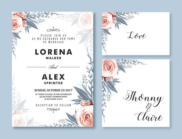 結婚式の招待カードテンプレート水彩花 Premiumベクター