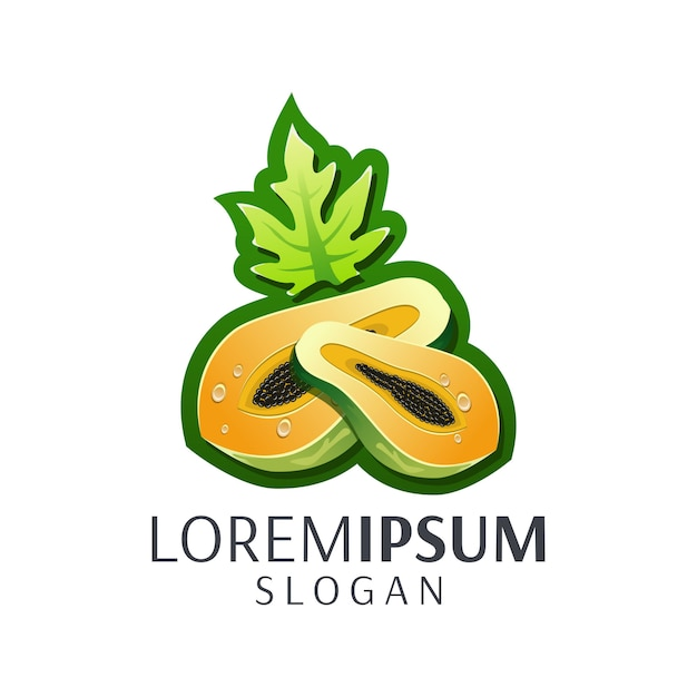 Папайя логотип Premium векторы