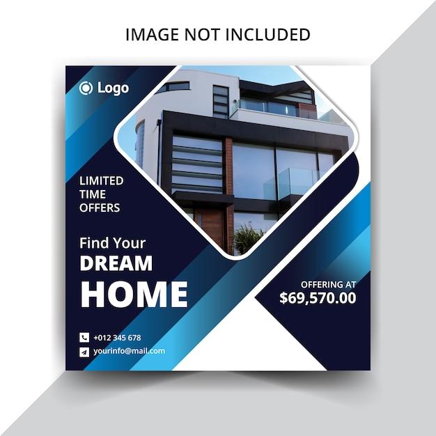 Социальные медиа публикуют реальную продажу дома Premium векторы