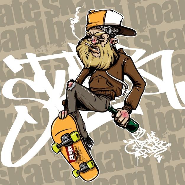 酔っ払った男の手描きのスタイルスケートボードに乗る Premiumベクター