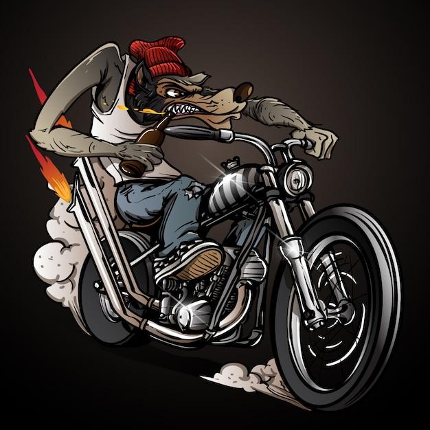 Анимация картинках, открытка волк на мотоцикле