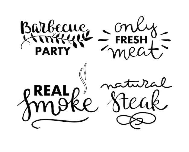 Коллекция рукописного текста жареной пищи, колбас, курицы, картофеля-фри, стейков, рыбы Бесплатные векторы