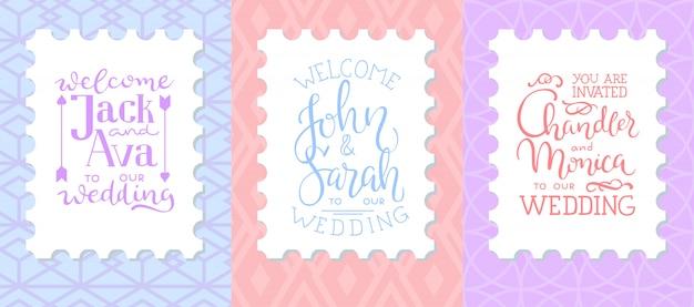 結婚式招待状のフレームセット;葉、水彩 無料ベクター