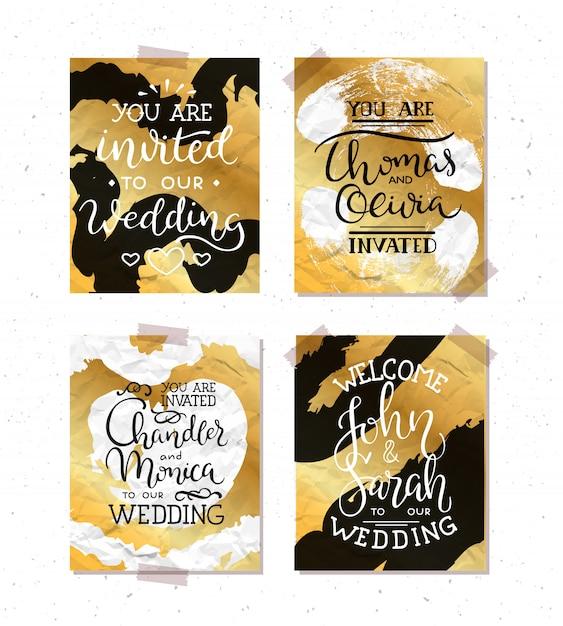 Комплект свадебных приглашений; листья, акварель Бесплатные векторы