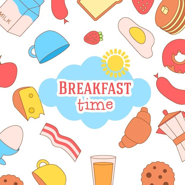 オムレツ、オリーブオイル、卵、ミルク、塩、タマネギ、きのことかわいいと簡単なフレームのイラスト 無料ベクター