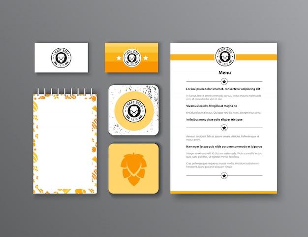 Фирменный стиль. классический дизайн шаблонов канцелярских принадлежностей. документация для бизнеса. Бесплатные векторы