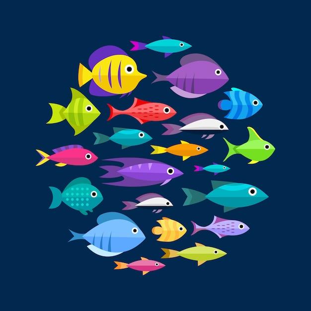 Сбор рыбы. мультяшный стиль. иллюстрация двенадцати разных рыб Бесплатные векторы