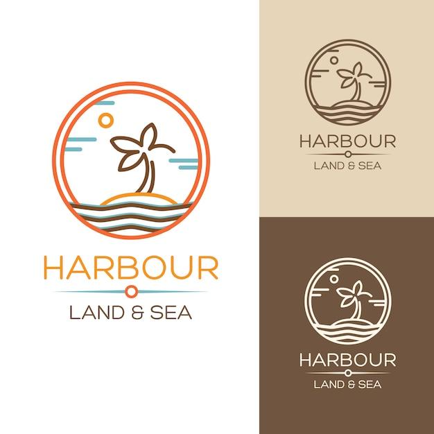 港。土地と海。島に手のひらを置いたイラスト 無料ベクター