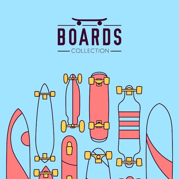 スケートボード付きスケートボードとスケートボードコレクションのバックグラウンド 無料ベクター