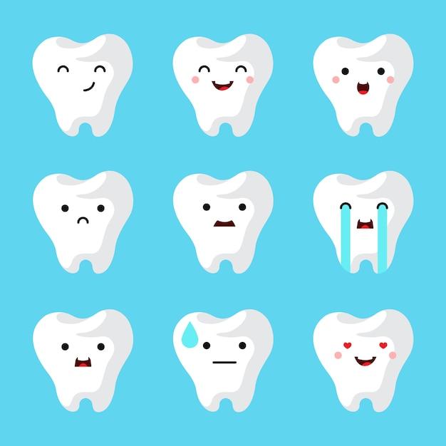歯科医院の歯が設定されています。 無料ベクター