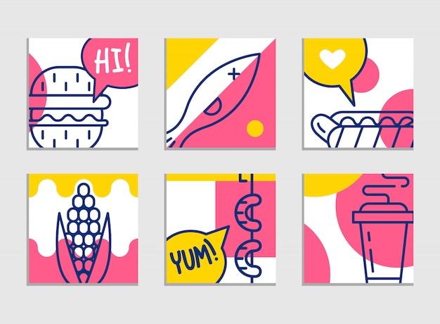 ファーストフードのメニュー。漫画の背景のセット。フレンチフライ、ハンバーガー、サツマイモフライ 無料ベクター