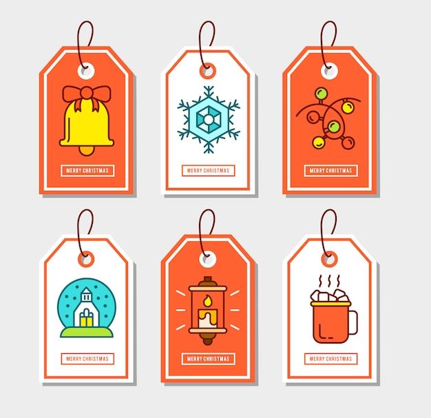 Рождественские наклейки с плоскими значками. Бесплатные векторы