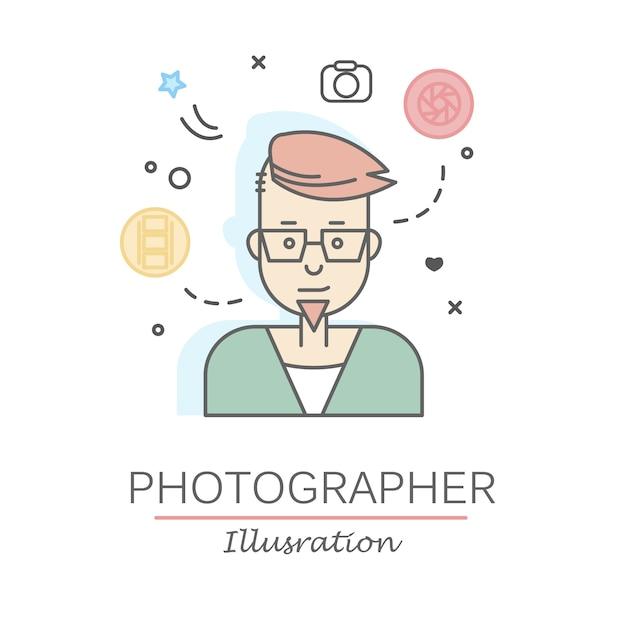 リニアフラットの人々の顔と職業のイラストレーション。 無料ベクター