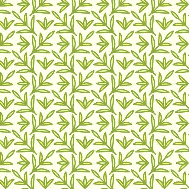 シームレスなパターン、手描きのかわいい昆虫、花、葉 無料ベクター