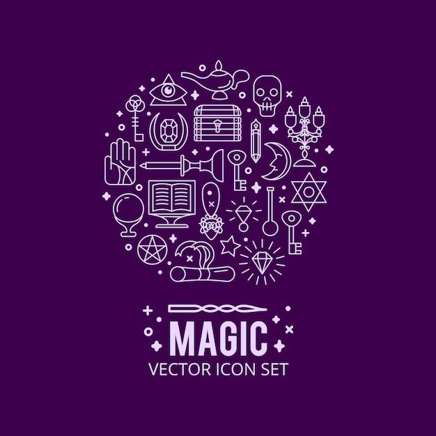 マジックアイコンが設定されます。輝く魔法の光。謎の奇跡 無料ベクター