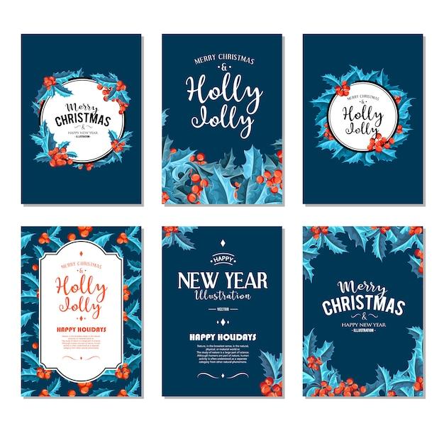 Холли джолли - набор рождественских баннеров. Бесплатные векторы