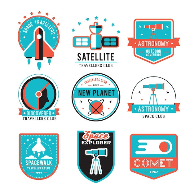Набор старинных пространств и значки космонавта, эмблемы, логотипы и этикетки. Бесплатные векторы