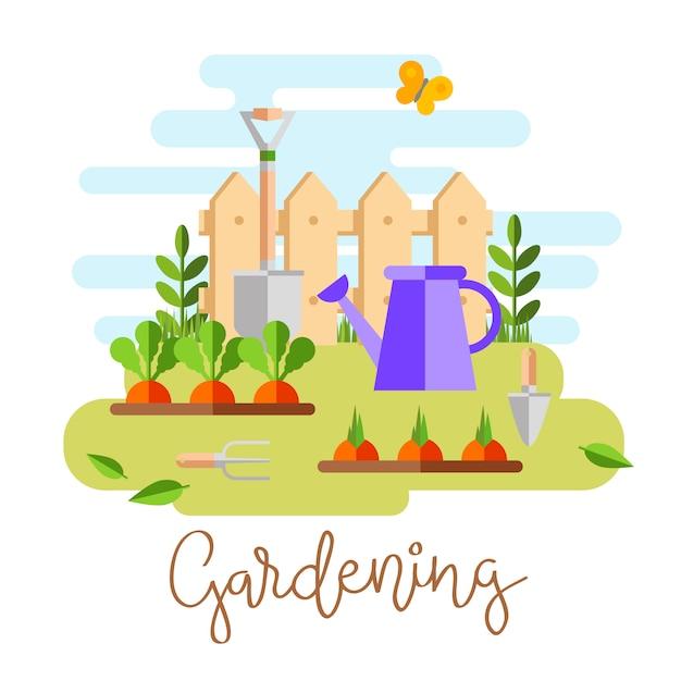 ガーデニングや園芸、趣味用具、野菜箱、植物。 無料ベクター