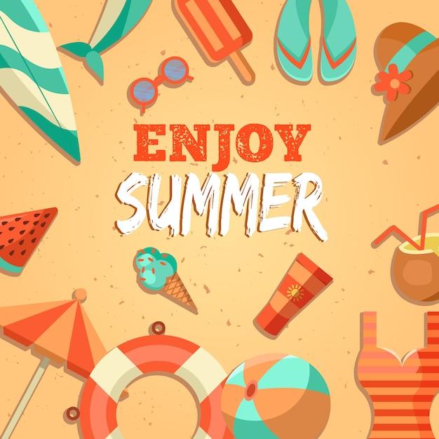 夏のロゴのイラスト。夏の時間、あなたの休日をお楽しみください。 無料ベクター