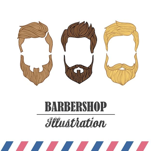 理髪店のための一連のアイコンの構成。 無料ベクター