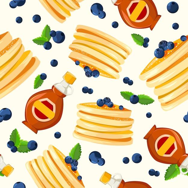 レストラン朝食ビンテージスタイルの広告ポストフライパンパンケーキと 無料ベクター