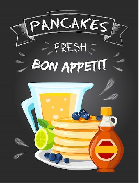 プレミアム品質のレストランの朝食ヴィンテージスタイルの広告のポスター 無料ベクター