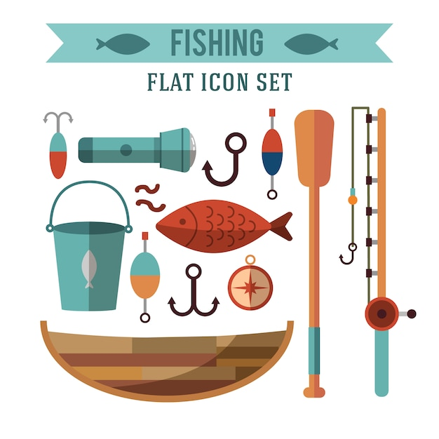 釣りの概念的なアイコンが設定されています。フラットデザイン。水の近くのレクリエーション 無料ベクター