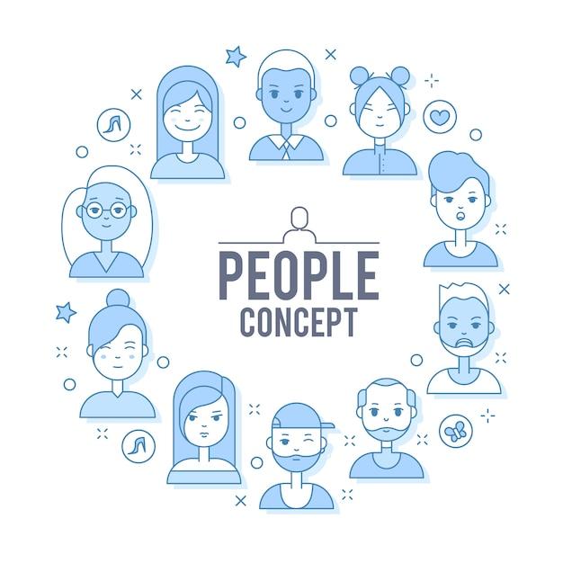 リニアフラットの人々はイラストに直面している。ソーシャルメディアアバター、ユーザーピクチャー、プロフィール 無料ベクター