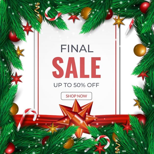 クリスマスの最終販売カード。モミの小枝、赤いボールと弓テンプレートの背景 Premiumベクター