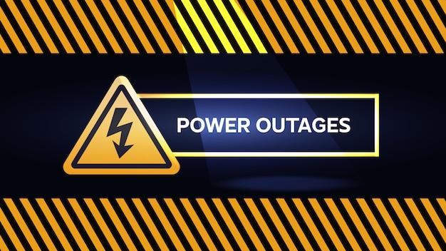 停電、懐中電灯と電気の三角形のアイコンで黄色と黒の警告ポスター Premiumベクター