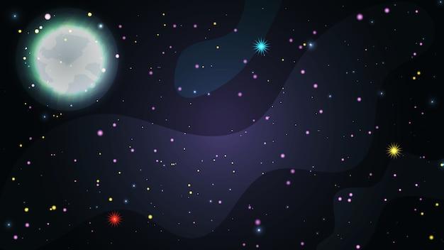 フラットスペースのベクトルの背景。星と明るい月の天の川銀河かわいいテンプレート。 Premiumベクター