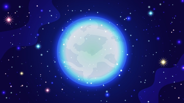銀河の背景。星空、明るい月、銀河と美しい宇宙ベクトルイラストテンプレート Premiumベクター