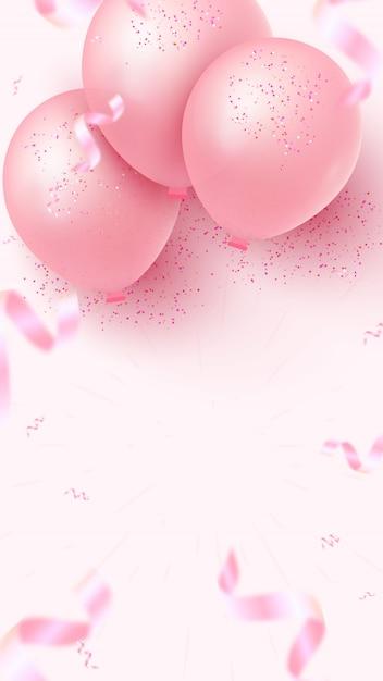 Вертикальный праздник баннер дизайн с розовыми воздушными шарами, падающие фольги конфетти и пустое пространство для вашего творчества на розовом фоне. женский день, день матери, день рождения, свадьба, юбилей шаблон Premium векторы