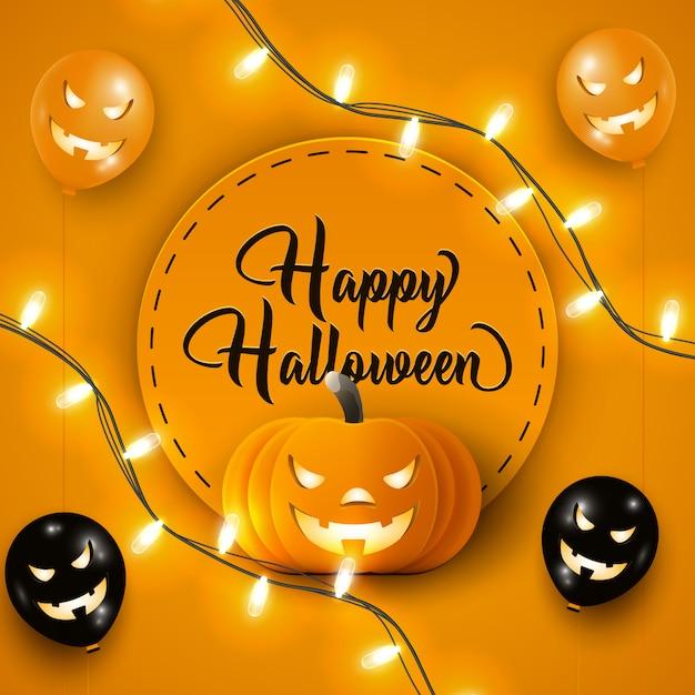 黒とオレンジのハロウィーンの気球、ガーランドライト、オレンジ色のカボチャと幸せなハロウィーンバナー Premiumベクター