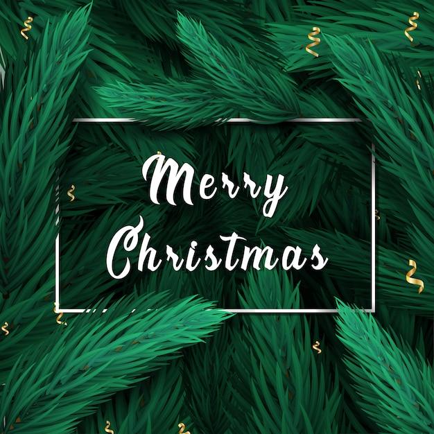 メリークリスマスレタリング。松やモミの枝背景付きのクリスマスカード。 Premiumベクター