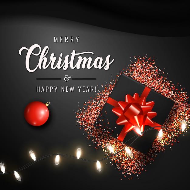 С рождеством и новым годом баннер Premium векторы