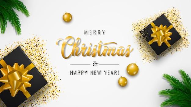 メリークリスマスと新年あけましておめでとうございますバナー Premiumベクター