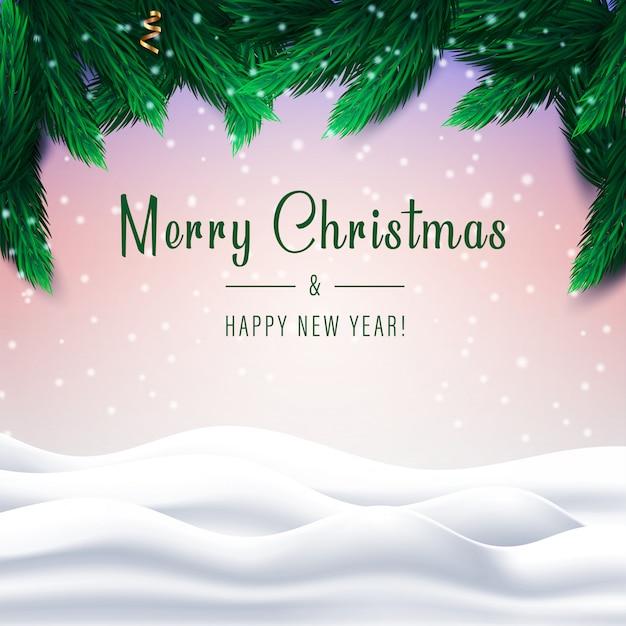 雪に覆われた冬の風景に松の木の枝とメリークリスマスと新年あけましておめでとうございます。 Premiumベクター