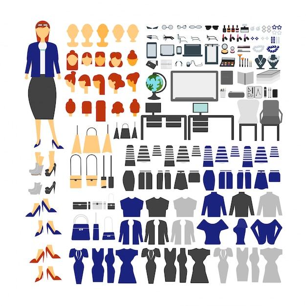 さまざまなビュー、ヘアスタイル、感情、ポーズ、ジェスチャーを使用したアニメーション用の教師キャラクターセット。 無料ベクター