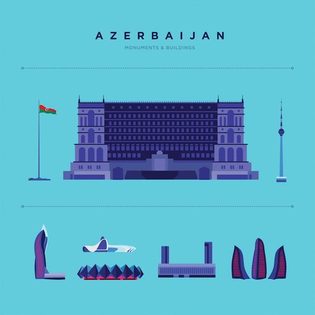 Иллюстрация известных мест и памятников в азербайджане. Бесплатные векторы