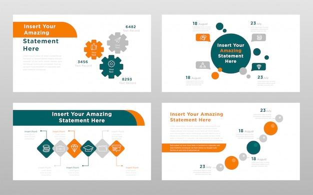 オレンジグリーンラウンド色のビジネスコンセプトパワーポイントプレゼンテーションページテンプレート 無料ベクター