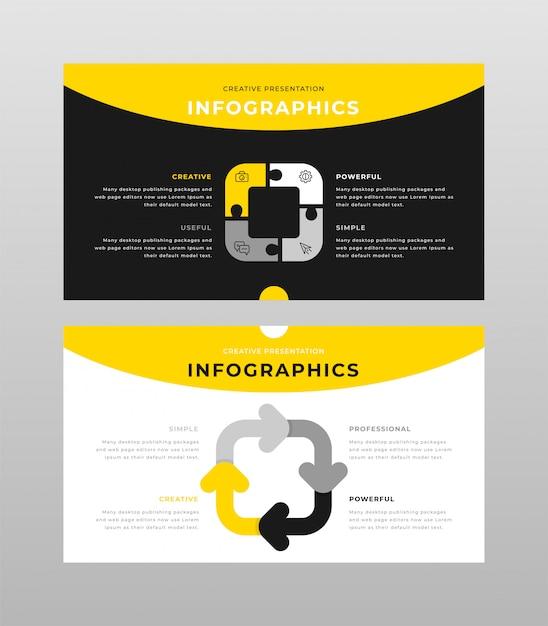 黄色のグレーと黒の色ビジネスインフォグラフィックコンセプトパワーポイントプレゼンテーションページテンプレート 無料ベクター