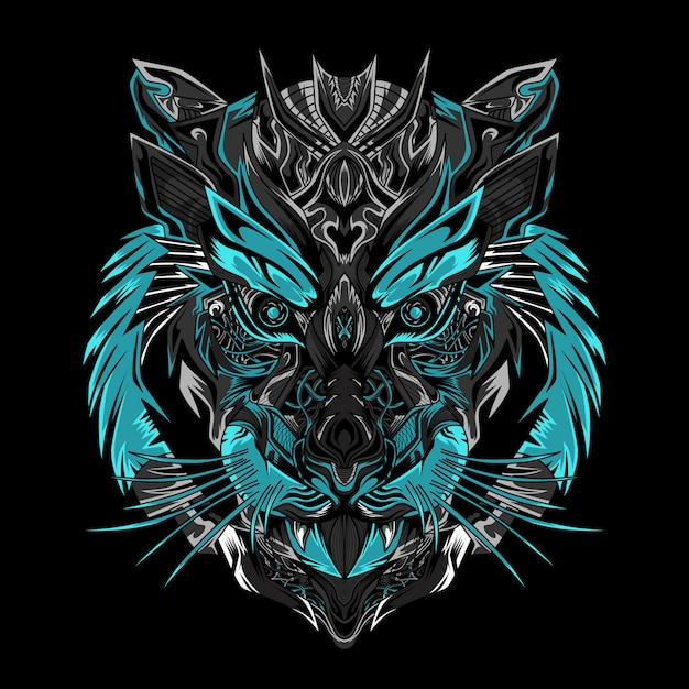Черная иллюстрация воина тигра Premium векторы