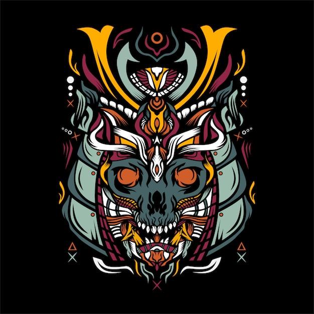 Череп с иллюстрацией шлема самурая Premium векторы
