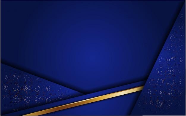 キラキラとラインゴールドと抽象的な青い背景 Premiumベクター