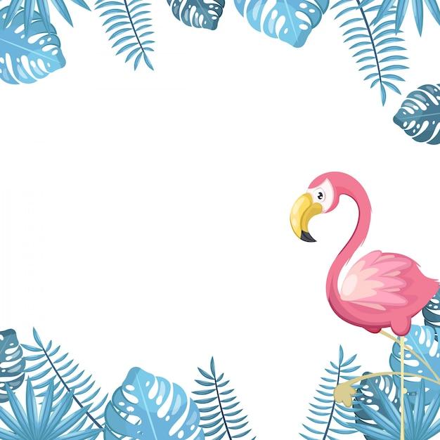 鳥や植物と熱帯の背景 Premiumベクター