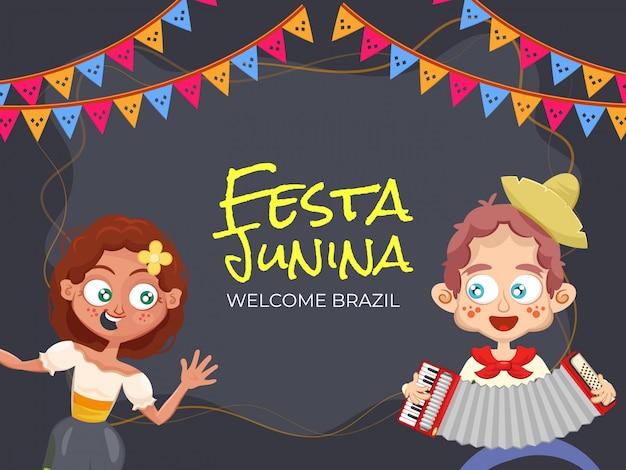 Феста юнина, добро пожаловать в бразилию. иллюстрация партии с милой парой Premium векторы