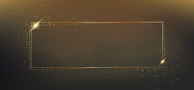 ライト効果を持つゴールデンフレーム Premiumベクター