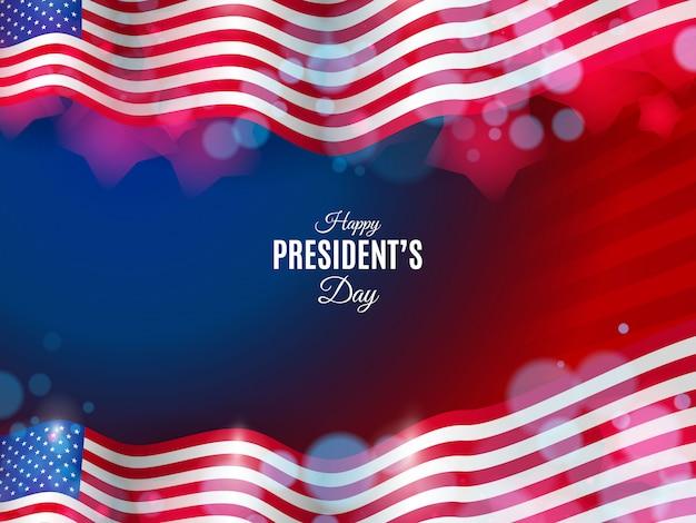 ぼやけたライトと波状の旗とアメリカ大統領の日の背景 Premiumベクター