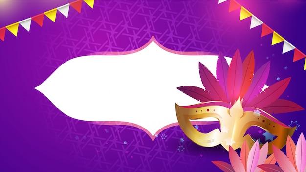 カーニバルマスク、花輪、花 Premiumベクター